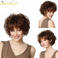 SHOWSTAR Hot Sale Women Short Fluffy Wigs Dark Brown Curly Hair Wigs Heat Resistant Realistic Wig Synthetic Wig with Bangs