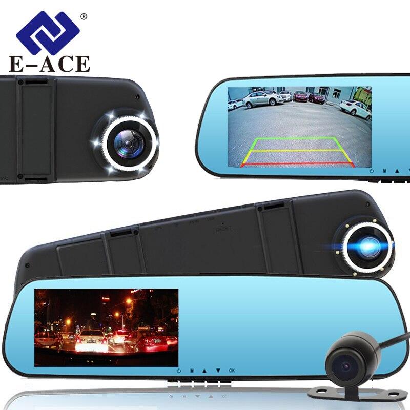 E-ACE 4.3 Inch Full HD 1080P Dash Cam Car Dvr Camera Rear View Mirror With DVR And Camera Automotive The Registrar Car Camcorder