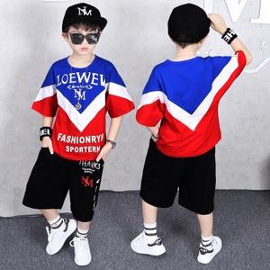 Image 3 - ילדי אימוניות 4 12Y בני בגדי Enfant tshirt + הרמון מכנסיים אופנה ילד בגדי ילדים מגניבים היפ הופ בגדי ספורט חליפה