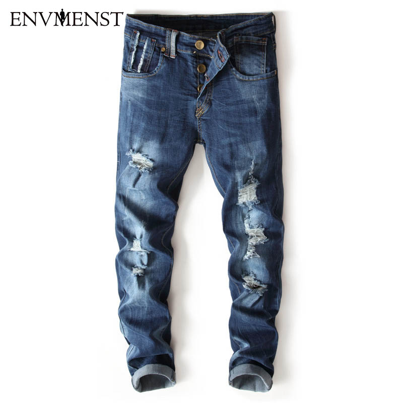 2017 new mens jeans Ripped Holes pants Korean style elasticity casual trousers cool stre ...