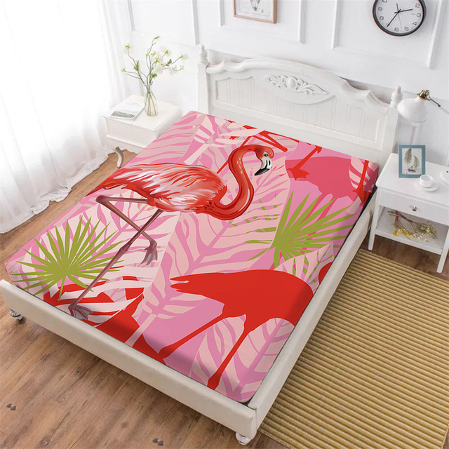 100% Polyester Bed Sheets Red Pink Flamingo Print Fitted Sheet Animal Print  Mattress Cover Elastic