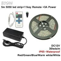 5m 30leds 5050 waterproof led strip red green blue white warm white strip light + 11key remote control + DC12V 3A Power