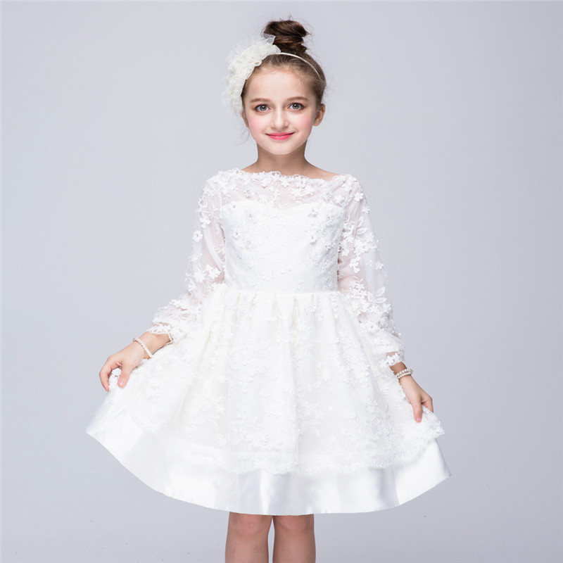 YWHUANSEN Long Sleeve Lace Girl Wedding Dress Off Shoulder Kid Clothes Spring Autumn Children's Fashion Girl Ceremony Dress 2017 fashionable lace long sleeve off the shoulder see through blouse for women