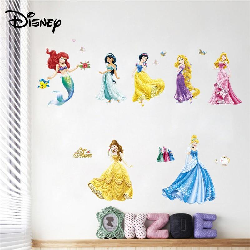 Disney Cartoon Girl Sticker Princess Children's Room Bedroom Bedside Sticker