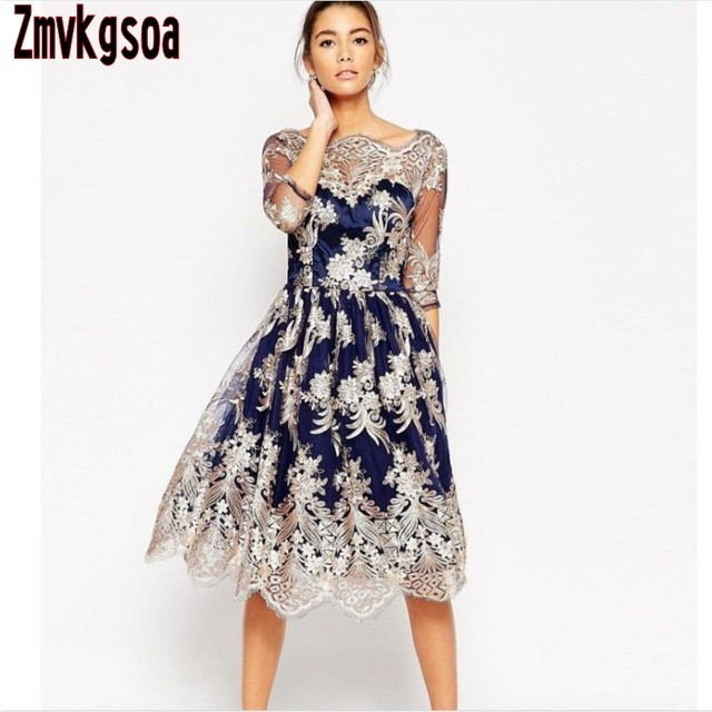 a0efd1f01a2 Zmvkgsoa Women s dress 1950s ladies elegant embroidered mesh vintage dresses  50s 60s for women half sleeve hollow out clothing