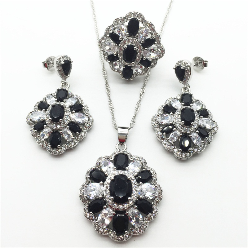 White Black Topaz 925 Sterling Silver Jewelry Sets AAA Zircon Necklace Pendant font b Drop b