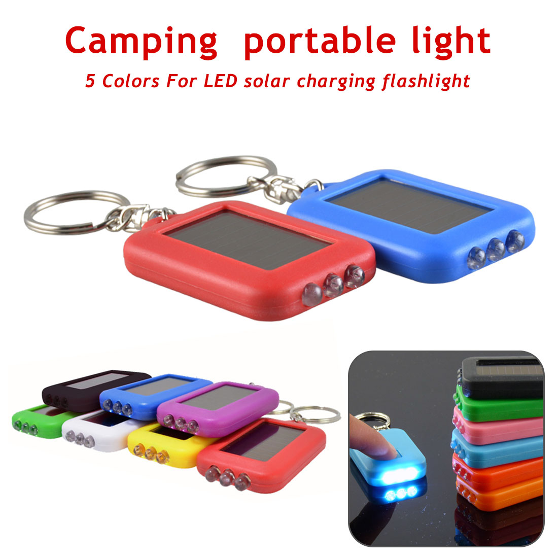 Portable 3 LED Flashlight Emergency Light Torch Keychain Light For Camping Hiking Key Ring Lamp Light Solar Power