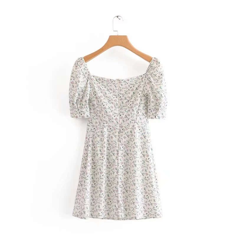 Floral vintage dress women summer beach dress elegant square collar white party dress Sexy mini dress puff sleeve vestidos Fall 4