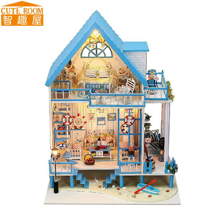 ФОТО Assemble DIY Doll House Toy Wooden Miniatura Doll Houses Miniature Dollhouse toys With Furniture LED Lights Birthday Gift 13011