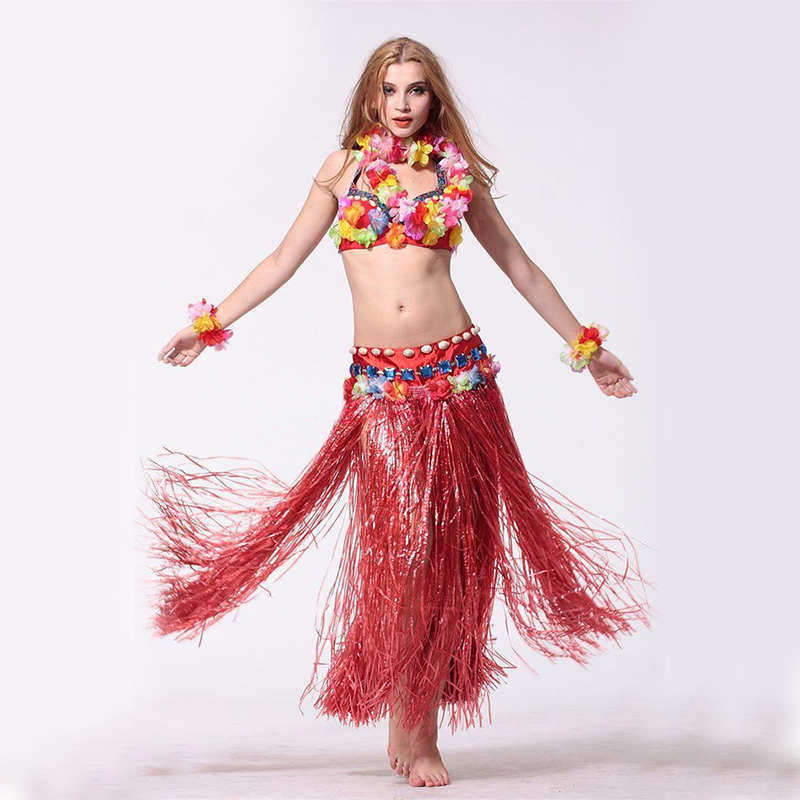 03e24a979bf6e ... Plastic Fibers Women Grass Skirts Hula Skirt Hawaiian costumes 60CM  Ladies Dress Up 6PCS /set ...