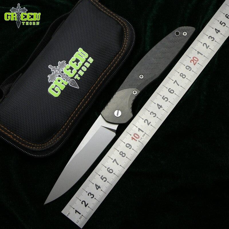 купить GREEN THORN 110A/B CF 3D M390 blade CF+Titanium handle Flipper folding knife outdoor camping hunting pocket fruit knive EDC tool онлайн