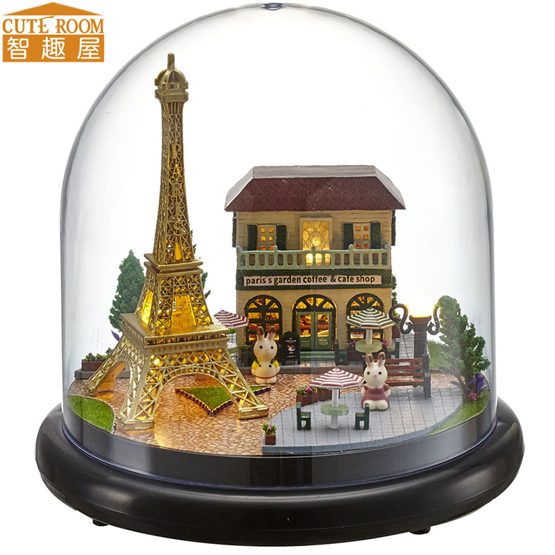 Cutebee DIY House Miniature With Furniture LED Music Dust Cover Model Building Blocks Toys For Children Casa De Boneca B018