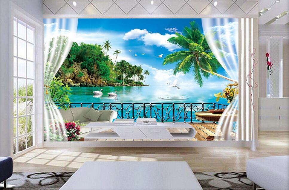 Custom 3 D Photo Wallpaper Wall Murals 3d Wallpaper Beach: 3d Room Wallpaper Custom Photo The Coconut Islands Sea