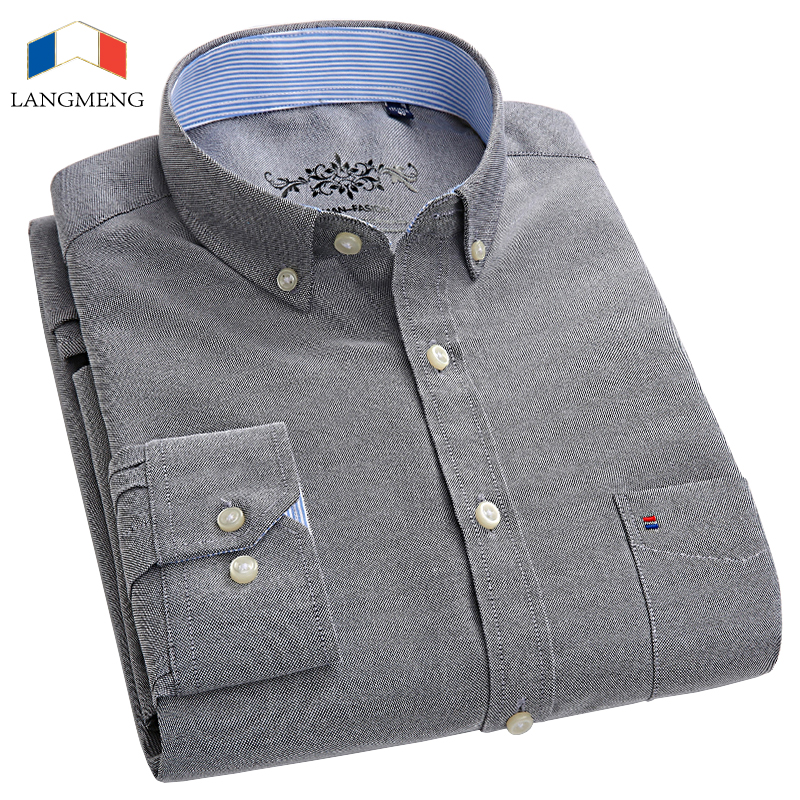 LANGMENG 2018 New Spring Autumn Oxford Men Shirts Long Sleeve 60% Cotton Casual Shirt Mens Slim Fit Solid Color Dress Shirt