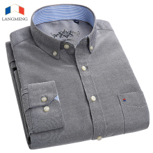 LANGMENG 2018 New Spring Autumn Oxford Men Shirts Long Sleeve 60% Cotton Casual Shirt Mens Slim Fit Solid Color Dress