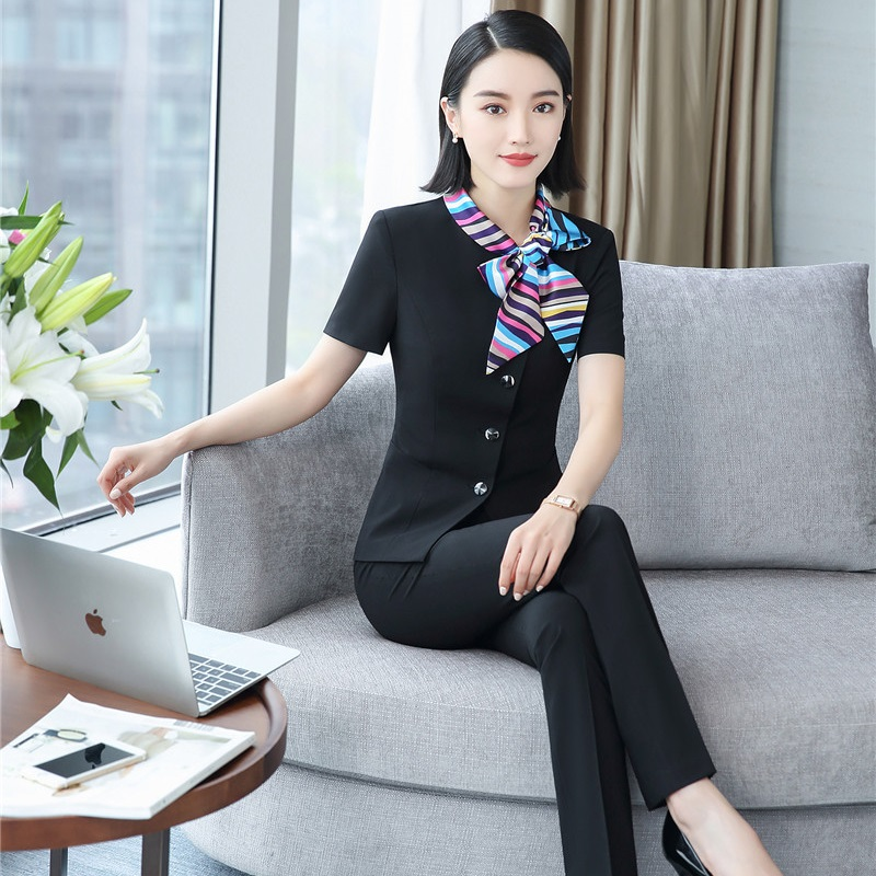 Summer Fashion Blazers Suits Formal Professional Office Ladies Jackets And Pants Uniform Styles Trousers Sets With Scarf