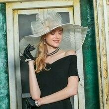 Women Fedoras Hat Organza Wide Brim Church Sinamay Hats Lady Flowers Wedding Dre