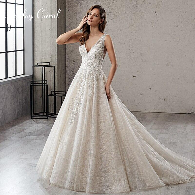 Ashley Carol 2019 Wedding Dresses Deep V Neck Sleeveless