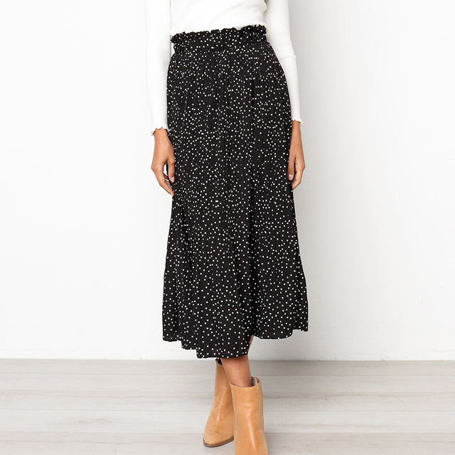 White Dots Floral Print Pleated Midi Skirt Women Elastic Skirts 3