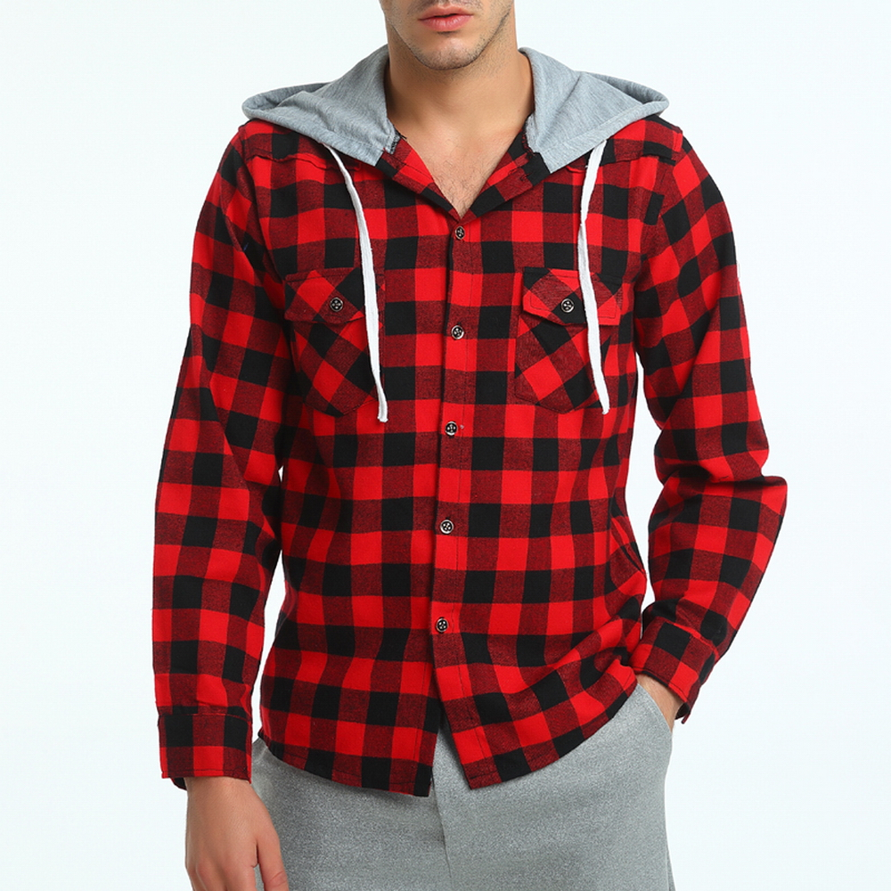 2017 Brand Black Red Plaid Hoodie Shirt Men Chemise Homme ...