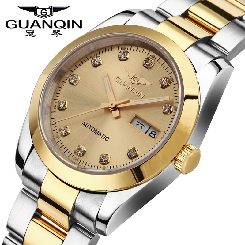 Top Brand GUANQIN Men Mechanical Watch Waterproof Luminous Watch Men Luxury Male Clock Sapphire Steel Wristwatches for Men Reloj guanqin men automatic mechanical watch diamond waterproof sapphire watches steel men luxury top brand menb gold wristwatches