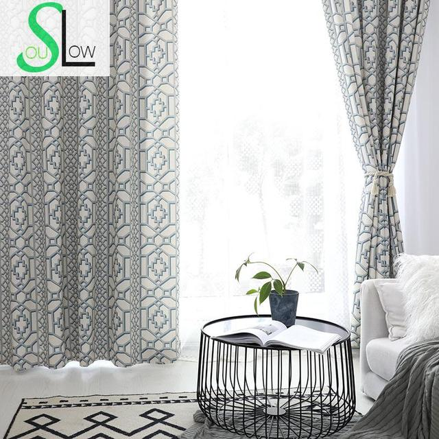 Slow Soul Green Wall Stone Window Modern Geometric Curtains For
