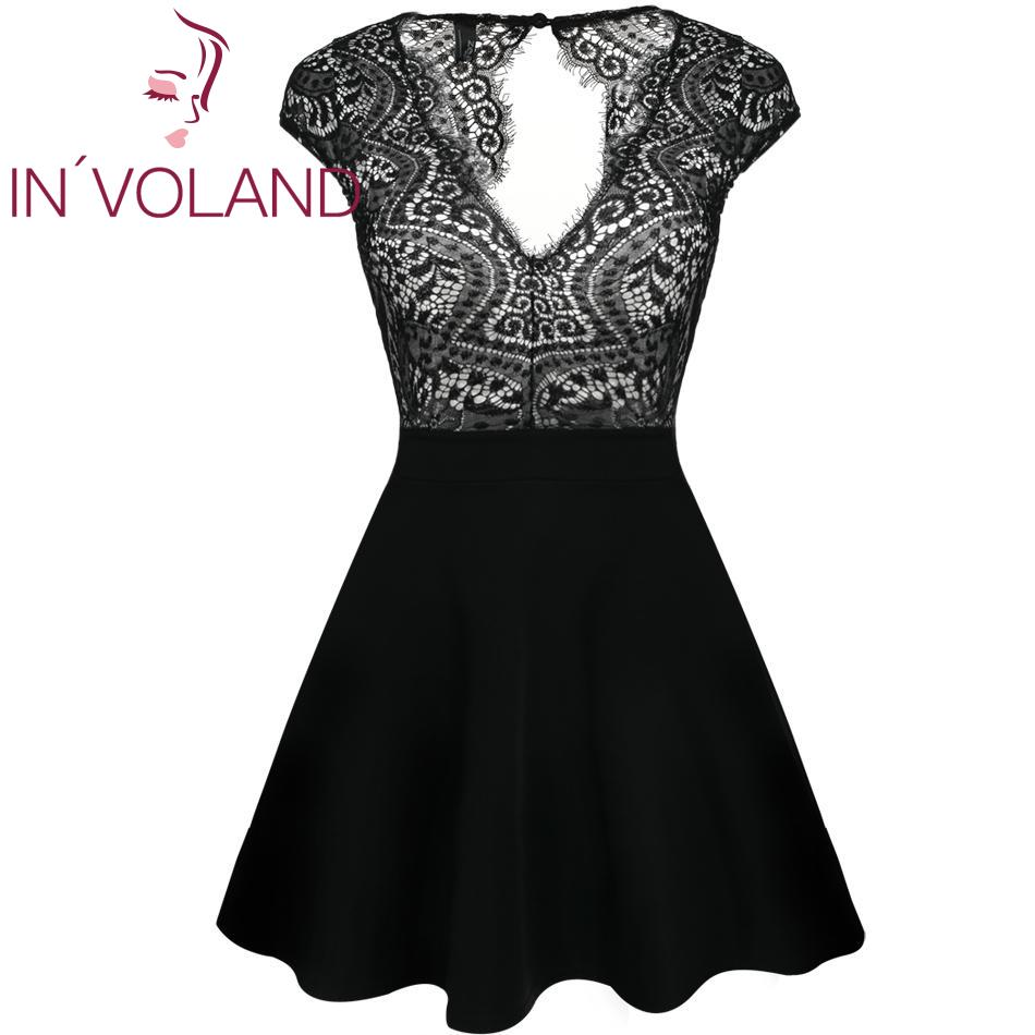 Women Lace Patchwork Double V Neck Fit and Flare Mini A-Line Dress Black S