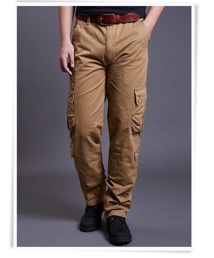 Icpans Winter Tactical Black Cargo Pants Men Loose Fit Military Style Side Pockets Army Black Denim Casual Men Pants Size 40 42 7