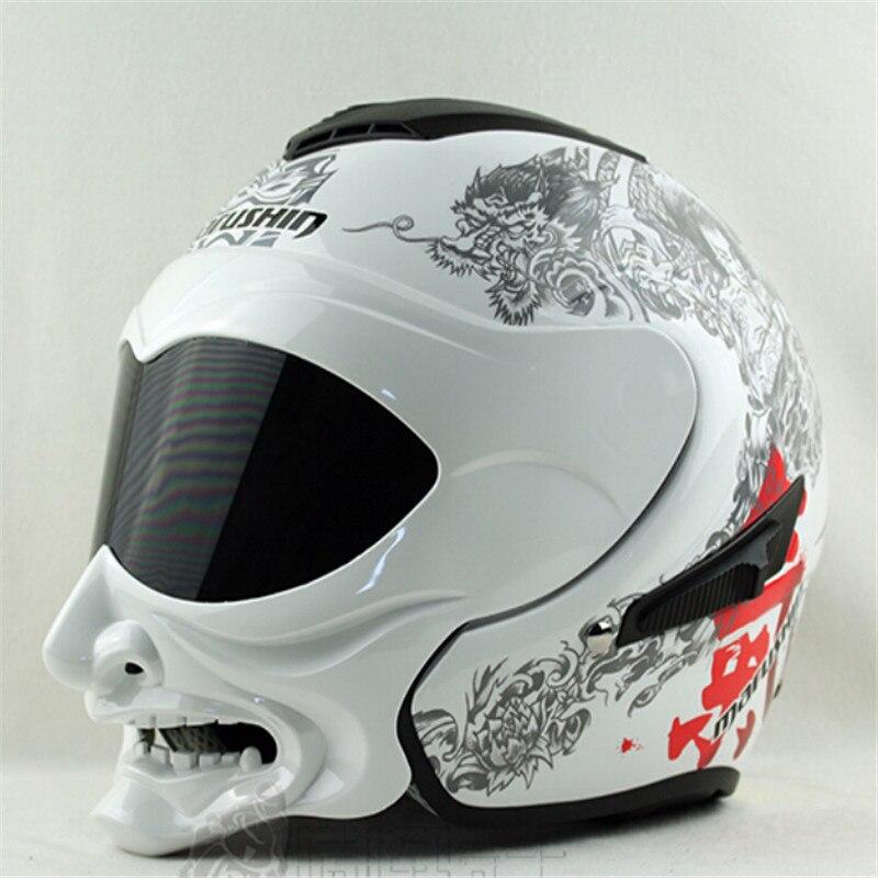 Véritable blanc et noir gaz Marushin casque moto casque samouraï casque demi-face double lentille marushinC609