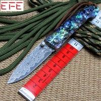 EFE EF83 다마스커스 접이식 칼 쉘 핸들 + 다마스커스 강철 블레이드 나이프 야외 도구 사냥 캠핑 나이프 + 도매 MMMMMMM