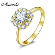 AINUOSHI 10k Solid Yellow Gold Wedding Rings Shiny Gemstones Female Fine Jewelry 0.8 ct Round Cubic Zirconia Women Wedding Rings