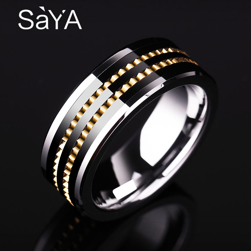 New Design 8mm Width Mans Wedding Rings Tungsten Carbide Band Gold Color Rotary Gear and Black Plating Comfort Fit Size 7-11New Design 8mm Width Mans Wedding Rings Tungsten Carbide Band Gold Color Rotary Gear and Black Plating Comfort Fit Size 7-11