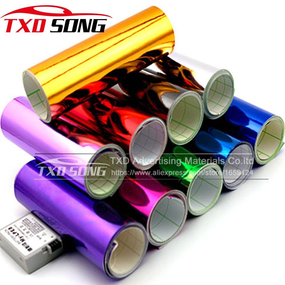 9 Colors Retails Mirror Chrome Mirror Vinyl Wrapping Car Sticker Film Chrome Mirror Car Decoration Vinyl With Air Channels