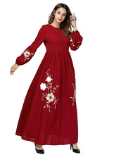 Muslim Dress European And American Heavy Embroidery Loose Long Sleeve