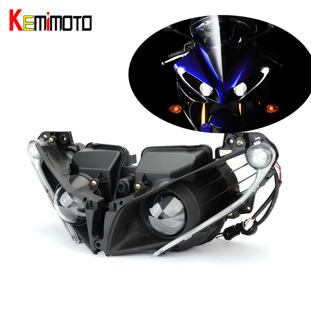 KEMiMOTO Headlight Lamp For Yamaha YZF R1 YZF-R1 2012 2013 2014 Head Light Housing Clear Motorcycle Accessories