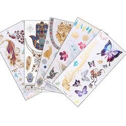 12 дизайн, 1 шт., Золотая временная вспышка, металлическая тату-наклейка, красота, Бабочка, перо, любовь, для женщин, хна, сделай сам, боди-арт, во...