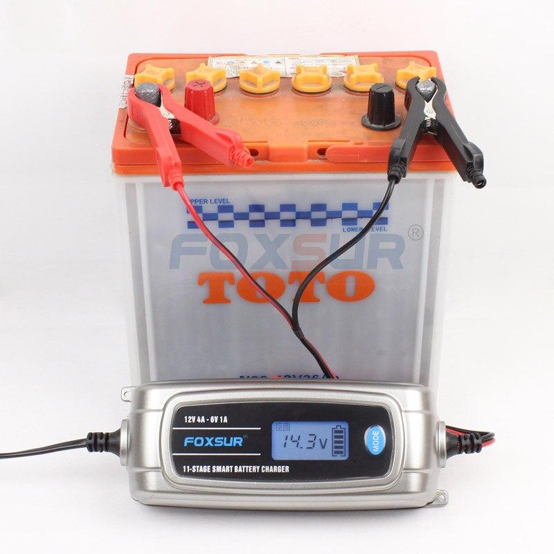 FOXSUR Intelligent Automatique 6 v 12 v Plomb Acide/GEL AGM HUMIDE Voiture Chargeur De Batterie D'affichage À CRISTAUX LIQUIDES D'UE des USA prise Rapide Intelligent Chargeur De Batterie