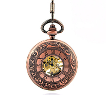 quality red Pure copper Roma number Mechanical Pocket Watch Chain Best Gift Steampunk Women