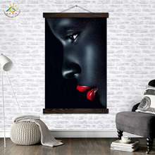 Red Lip Black Face Modern Canvas Art Prints Poster Wall Painting Scroll Artwork Pictures Home Decoration