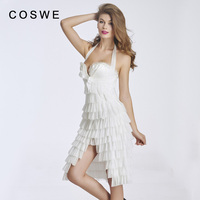 COSWE Women White Black Corset and Bustiers with Lace Trim Female Fashion Body Shaperwear Steampunk Corset Dress