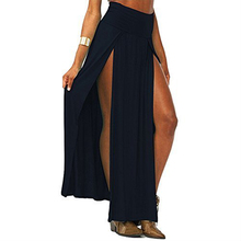 2017 NEW Fashion Women Cotton Blend Sexy Trends Double Slits Open Rayon Knit Long Maxi Skirt
