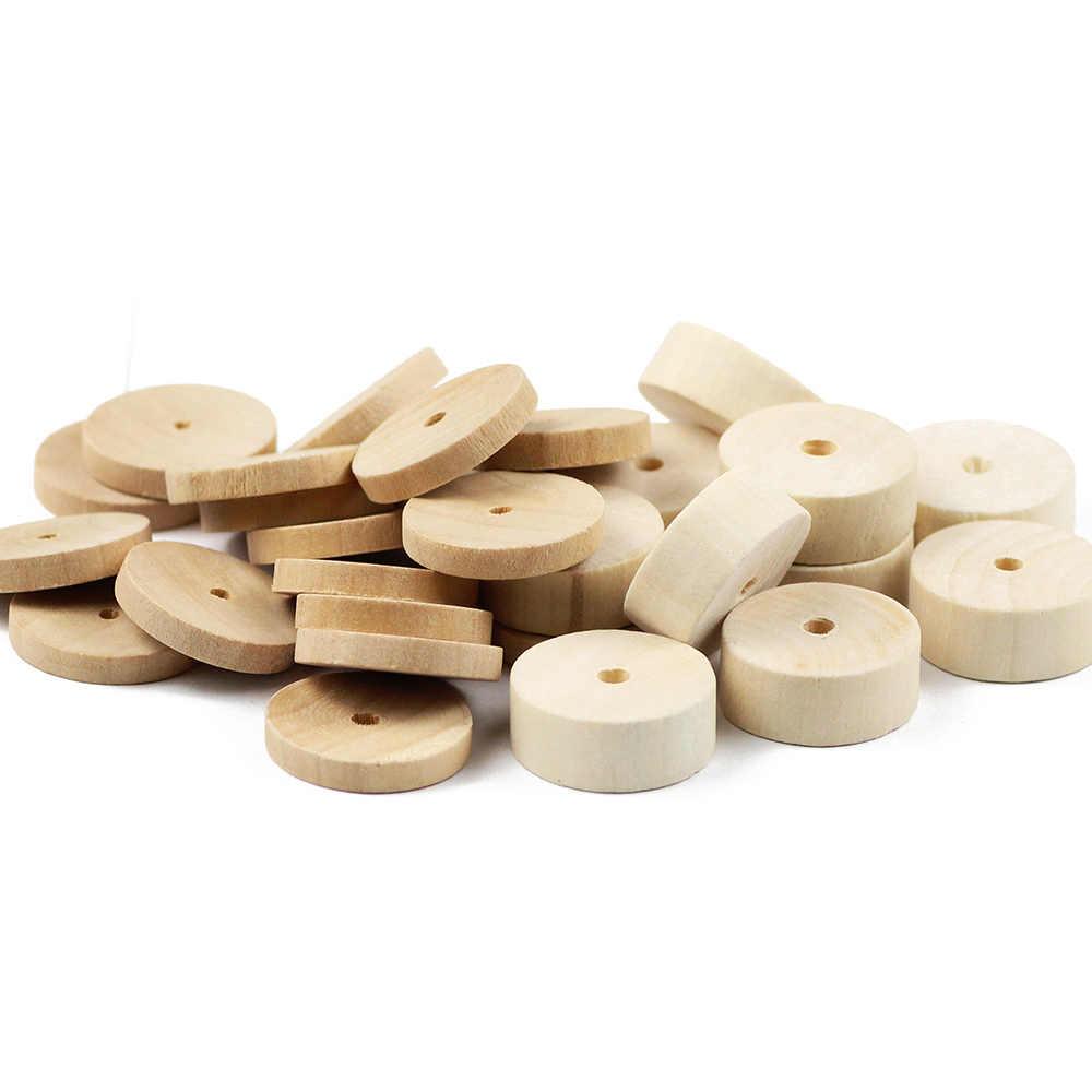 JHNBY 24mm DIY yuvarlak Spacer ahşap boncuklar çevre dostu doğal renk ahşap boncuk takı kolye bilezik yapımı bulguları oyuncak