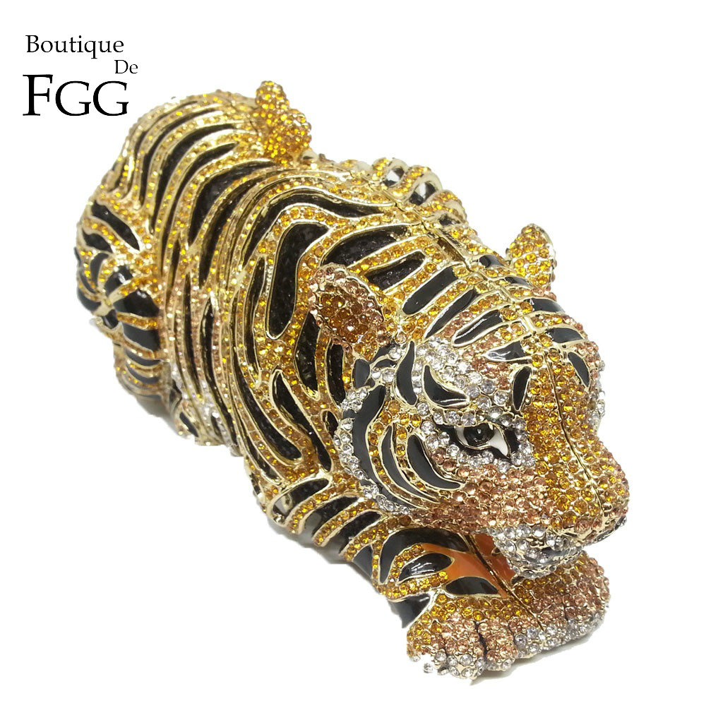 Boutique De FGG femmes élégantes or tigre embrayage minaudière sacs De soirée diamant mariage sac à main De mariée sac à main De fête sac à dîner