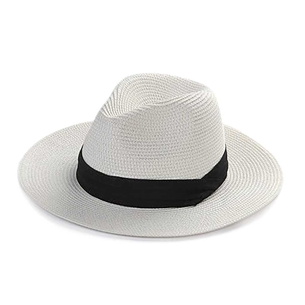Deluxe Braided Panama Style Beach Straw Hats Fishing Sun Hat Black Banded Wide Brim Cool Summer Holiday Vintage Trilby Hat
