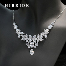 HIBRIDE Classic Clear Cubic Zirconia And Pearl Women Wedding Jewelry Set Bridal Necklace Earring For Engagement Gifts N-249(China)