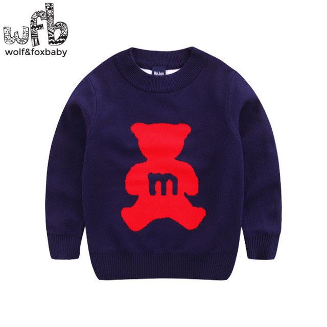 Retail 2-8 years knitted sweaters cartoon bear solid color baby kids children Clothes Infant Garment spring autumn fall