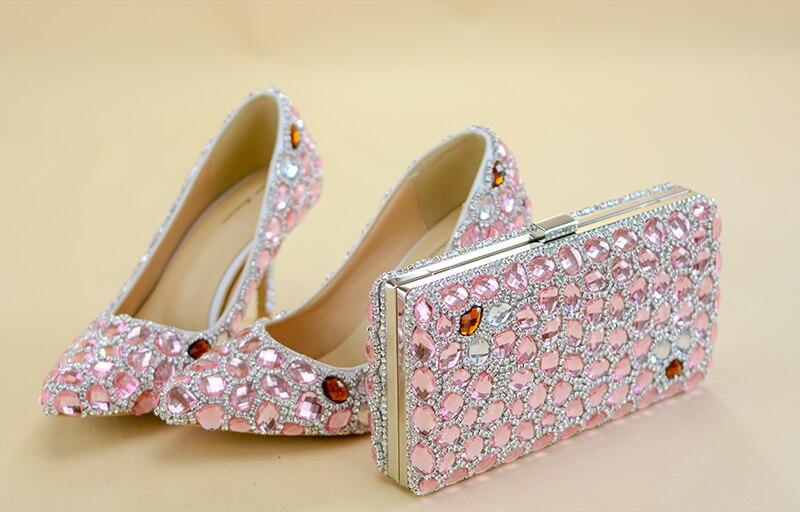 Puntiagudos Cristal Bolsos De Y 2018 Cm Brillantes Mujer 8 Rosa Conjunto Botines Zapatos Elegantes Claro Diamante Boda Tacones PUnqYYO1
