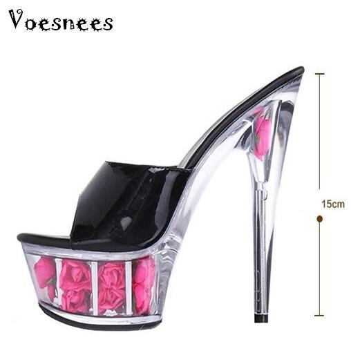 3ef9aac395e44 2015 Multicolor Rose wodoodporna seksowne obuwie ślubne na wysokim obcasie  sandały nocny sandały klapki kobiety Plus rozmiar 33-43