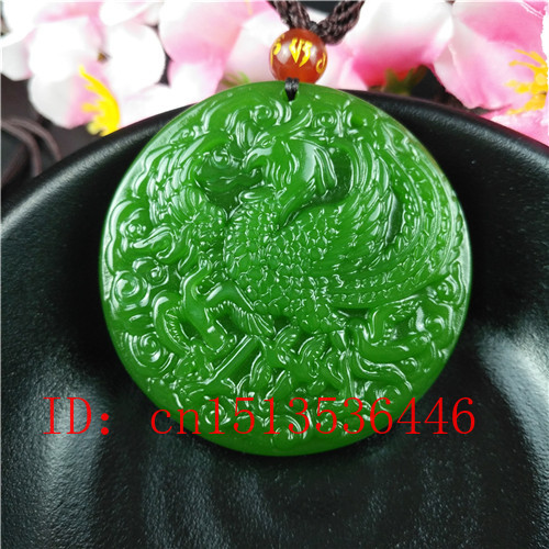 Natural Green Chinese Phoenix Carved Jade Pendant Necklace Charm Jewellery Fashion Lucky Amulet Gifts For Women Man