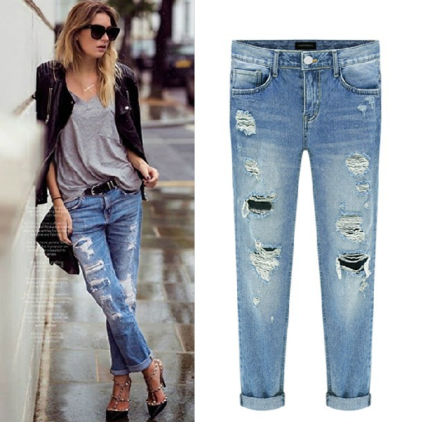 Aliexpress.com : Buy ripped off Capri jeans from Reliable Jeans ...